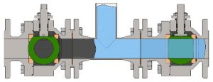 Diagram showing 2 ball valves (left ball valve is closed) and a connecting T-piece, Figure:©SchuF