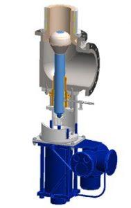 Beispielzeichnung eines Hochdruck-Duckabbauventils mit speziell auf schwierige Bedingungen ausgelegten Innenteilen, eingesetzt z.B. für das HPAL-Verfahren oder den Activox-Prozess, Bild:©SchuF